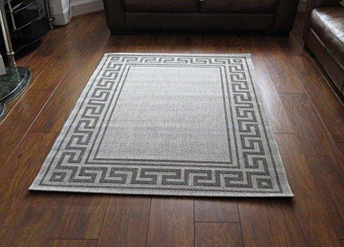120 x 170 cm relación de polipropileno Natural Greek bordeado alfombra de tejido plano, Gris