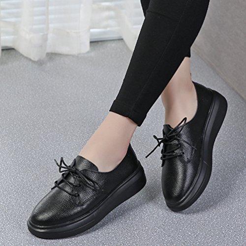 JRenok Chaussure Femme Lacets Cuir Plateforme Talon Plat Mocassin Simplicité au Printemps Ballerine Noir
