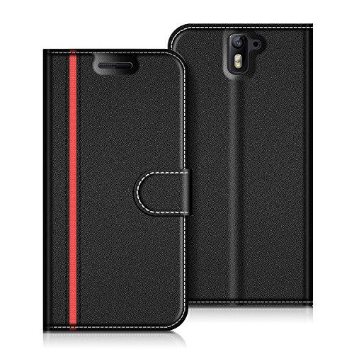 COODIO Coque en Cuir OnePlus 1, Étui Téléphone OnePlus One, Housse Pochette OnePlus 1 Fonction Stand Etui Coque pour OnePlus One/OnePlus 1, Noir/Rouge