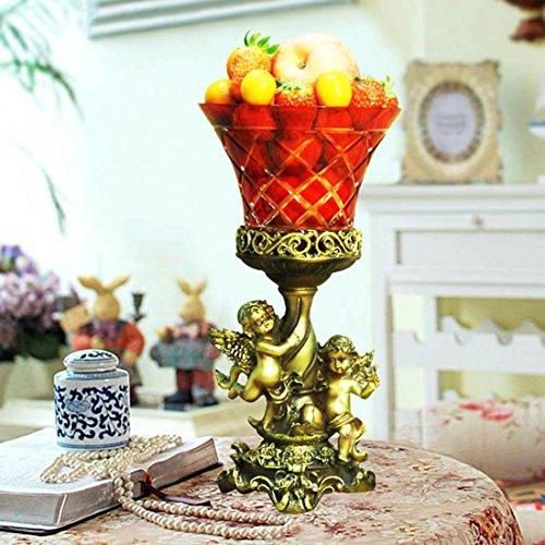 Makenier Vintage gravé à la main Fruit bol en verre rouge avec base en résine Ange