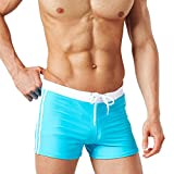 Männer Solid Board Shorts Swim Trunk Laufen Gym Active Shorts Sky Blue M