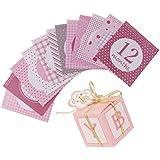 MagiDeal 12pcs/Set Mensual Pegatinas de Niña Crecimiento de Niños 1-12 Meses+ 12pcs Cajas de Regalos de Caramelo Forma de Rectángulos Rosado