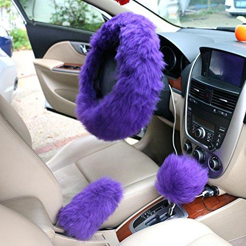 popidi Universal Luxus Plüsch Faux Wolle Wolle Lenkradhülle Case Feststellbremse Guard Shift Knob Haut 3 in 1 kit (Violett)