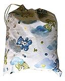 Sacchetto asilo Orsetti e nuvole colore azzurro 46x60 cm porta indumenti
