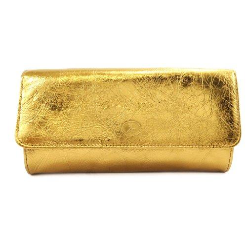Frandi [K9867] - Sac pochette cuir 'Frandi' bronze (2 soufflets)