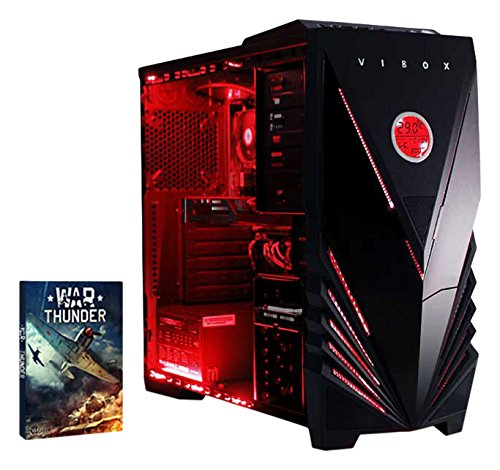 VIBOX Crusher 11 - Ordenador para Gaming (Intel i7-4790, 8 GB de RAM, 1 TB de Disco Duro, AMD Radeon R7 240) Color neón Rojo