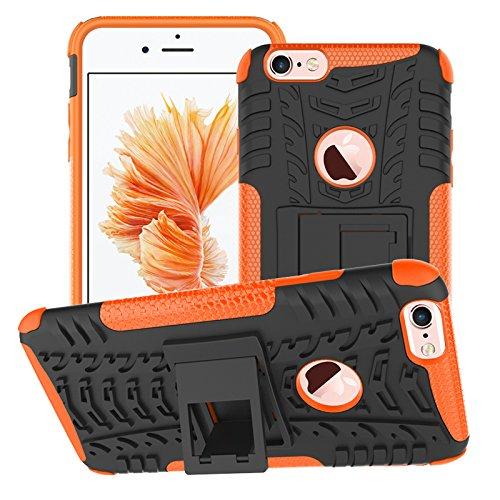 BCIT iPhone 6 6S Plus Cover - Alta qualità Doppio Strato ibrido Cellulari Case Custodia protettivo Per iPhone 6 6S Plus - Blu Arancione