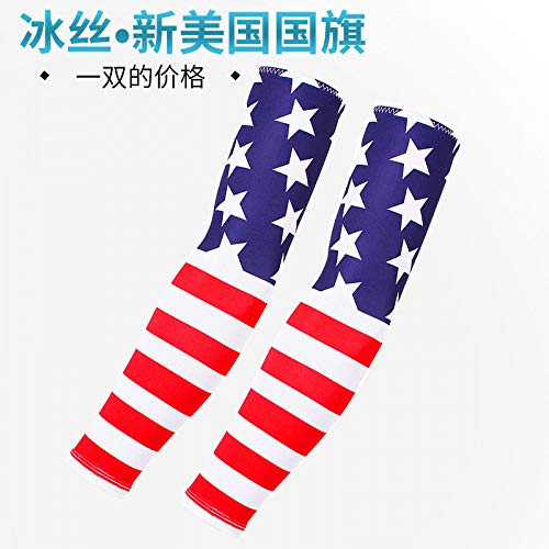 Sunscreen Tattoo Männliche Blume Arm Tattoo Ice Hand Ärmel Outdoor Weibliche UV Schutz Ärmel Armband Arm Set, Amerikanische Flagge ()