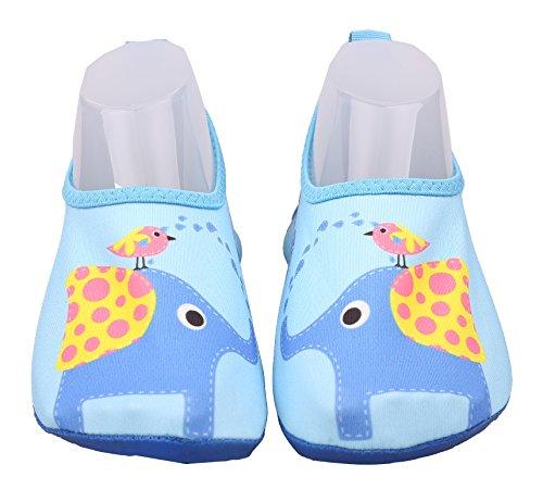 ABClothing Childrens Slip-On Athletic Wasserschuhe/Aqua Socks Elefant Blau Erhältlich in 5 Muster Little Kid 1.5M-2M