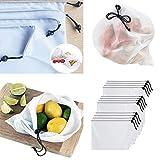 Patzbuch Gemüse Mesh Tasche, 12/Set Waschbar Polyester Einkaufstasche Fruit Lebensmittels Mesh Bag Set Wiederverwendbare Mesh Kordelzug Staubbeutel Säckchen Umweltfreundlich