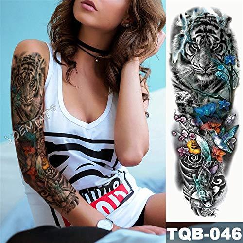 Brt grande armo manica tatuaggio giapponese geisha serpente impermeabile temporaneo tatuaggio adesivo lotus pavone ragazza tatoo body art donne 22 milia