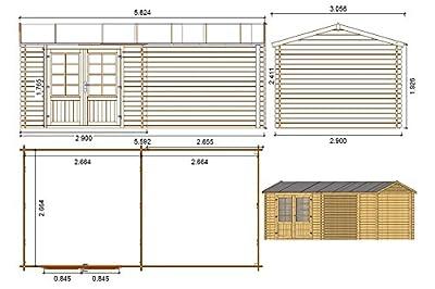 Fonteyn Gartenhaus/Blockhütte Irma Satteldach 580 x 290 cm Hochdruck imprägniert von Fonteyn - Du und dein Garten