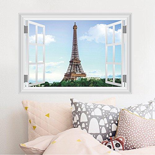 Weaeo Paris Turm Wand Aufkleber Für Wohnzimmer Restaurant Fernseher Sofa Hintergründe Dekorationen 3D-Lebendige Fenster Pvc Wand Aufkleber Home Decor (Paris-thema Dekor Für Die Wand)