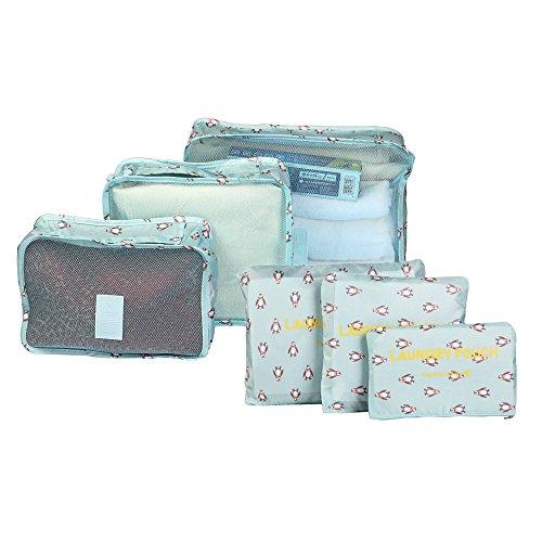 Reisetasche 6 Stück Set-3 Verpackungs Würfel+3 Beutel Kleidertaschen Kompresse Ihre Kleidung in Koffer Wäschebeutel während der Reise (Blau) (Jean-geldbörsen-beutel)