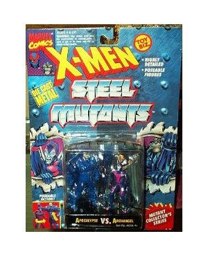 Apocalypse vs Archangel Figures - 1994 - X-Men Steel Mutants - Die Cast Metal - w/ Mutant Collector Stand - Poseable - Detailed - Toy Biz - Marvel - Limited Edition - Mint - Collectible by Toy Biz