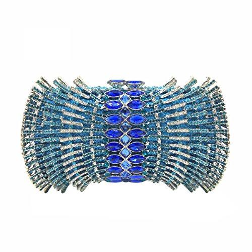 Lusso Diamante Borsa Da Sera / Della Frizione Delle Donne Blue