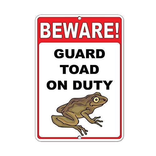 Vorsicht. Guard Kröte On Duty Deko Schilder mit Sprüche Metall Aluminium Wand Sicherheit Schild