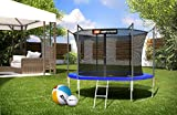 Hop-Sport Gartentrampolin Outdoor Trampolin 244, 305, 366, 430, 490 cm Komplettset inkl. Innennetz Leiter Wetterplane Bodenhaken blau (305 cm) - 4