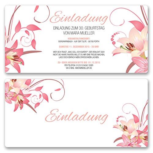 Einladungskarten Geburtstag (10 Stück) Blumen Geburtstagseinladungen Karte Einladungen gestalten | Inkl. Druck Ihrer persönlichen Texte