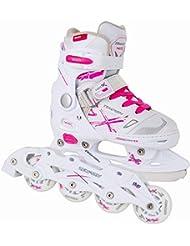2in1 Schlittschuhe Inliner NEO-X DUO ABEC5 pink weiß Gr. 29-32, 33-36, 37-40 verstellbare Mädchen Skates