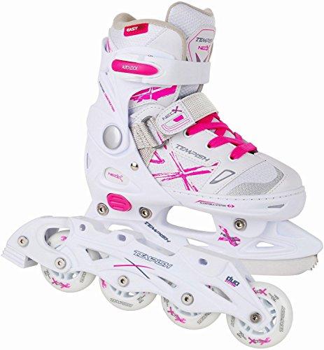 2in1 Schlittschuhe Inliner ABEC5 pink weiß Gr. 29-32, 33-36, 37-40 verstellbare Mädchen Skates (29-32)