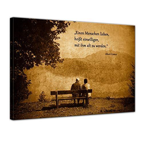 Leinwandbild mit Zitat - Einen Menschen lieben, heißt einwilligen, mit ihm alt zu Werden. - (Albert Camus) 80x60 cm - Sprüche und Zitate - Kunstdruck mit Sprichwörtern - Vers - Bild auf Leinwand