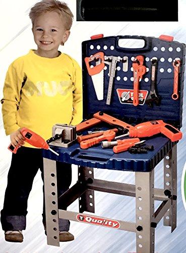 Kinderwerkbank Kinderwerkzeug Werkzeugkiste Werkzeugkoffer Kinderwerkstatt 72cm