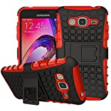 Samsung Galaxy J1 2016 Outdoor Hülle Case in Rot Extra Schutz, Robuste Galaxy J1 2016 Schutzhülle Handyhülle Cover Silikonhülle Rückschale