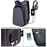 Laptop Backpack, Della Gao Durable Water Resistant Daypack Bag With USB Charging Port / Headphone Port For Women Men Business, Travel, School, Fits Up to 17 Inch Notebook Computer/Tablet 25 L - Grey