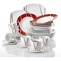 Malacasa, SerieFelisa,30 piezas Juego de vajilla de porcelana platos de vajilla 6 platos plano, 6 platos de postre, 6 platos de sopa,6 tazas y 6 platillos vajilla para 6 personas
