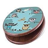 banjado Design Toilettensitz mit Absenkautomatik, WC-Sitz Holz, Klodeckel mit Metall Scharnieren, Toilettendeckel mit Motiv Acht Eulen