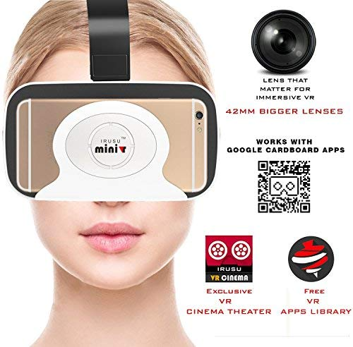 Irusu Mini VR Virtual Reality 3D Glasses with Bigger 42mm HD Optical Resin for Better FOV Compatible with All Smartphones (White)