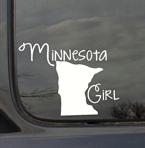 Wanddekoration Plus mehr wdpm3012State Girl Silhouette Minnesota Auto-Aufkleber Vinyl, Weiß