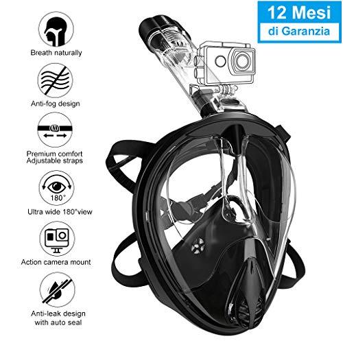 ENKEEO Máscara de Buceo Snorkel de Cara Completa, 180°Snorkel Mask con Larga Vision Anti-Niebla UV 400 Base para Cámara Gopro, Tubo de Respiración Desmontable de Tipo Seco(S/M, Negro)