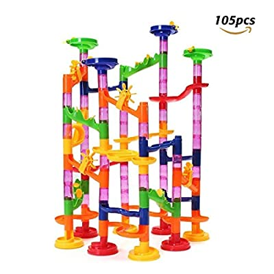 FUNTOK 105 pièces Jouets de chemin de fer en marbre Construction Blousons de construction d'enfants