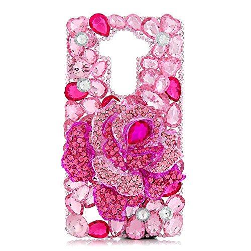 Spritech (TM) 3D handgemachte Rosen-Rosen-Rosa-Herz-Diamant-Entwurfs-harter Fall für LG G4 H815 H818
