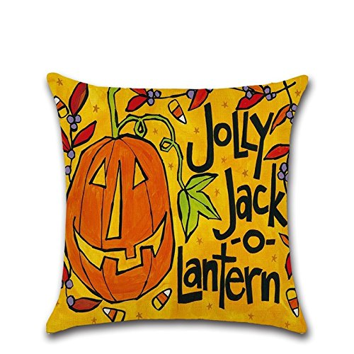 JINGXINSTORE Halloween Kürbis Cartoon Baumwolle Kissenbezug werfen Taille Kissenbezug Square Sofa Home Decor, 6#, 45 * 45 cm