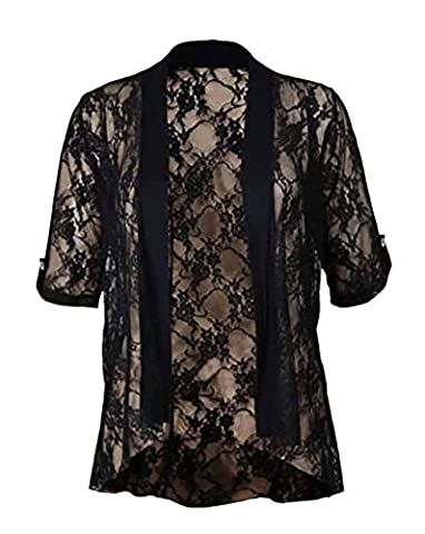Womens Floral Lace Short Turn Up Cuff Sleeve Ladies Waterfall Front Open Cardigan Top Plus Size Black Size 26 -