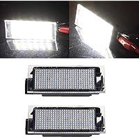 VIGORFLYRUN PARTS LTD 2pcs LED Luz de Matrícula Bombilla Licencia Número Placa Lámparas de Luz para Megane 2 Clio Laguna 2 Megane 3 Twingo Master Vel Satis, ...