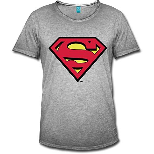 Spreadshirt DC Comics Superman Logo Original Männer Vintage T-Shirt, XXL, Vintage Grau