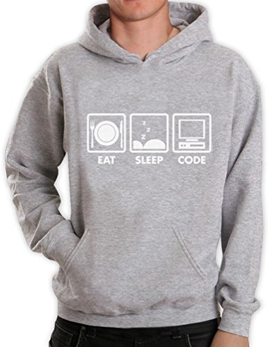 Green Turtle T-Shirts Eat Sleep Code lustiges Motiv Kapuzenpullover Hoodie XXXX-Large Grau