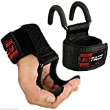 FITPACT Ganci Sollevamento Pesi Cinghie Crossfit Polsiere Bodybuilding Gancio Imbottitura Neoprene Fitness Powerlifting Trazioni Allenamento Weight Lifting Hook Guanti Support Polso Palestra