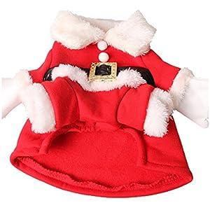 LSERVER Chien Vêtements Manteau d'Hiver Chiot Chien Chat Animaux Domestiques Costume Déguisement Père Noël Halloween