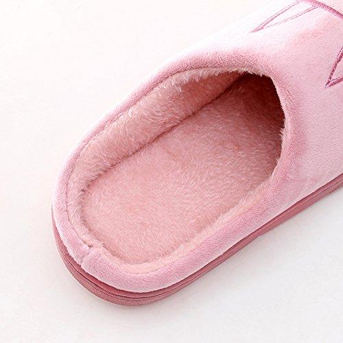 Fankou inverno caldo giovane pacchetto con fondo spesso anti-slittamento home indoor pantofole di cotone Blau