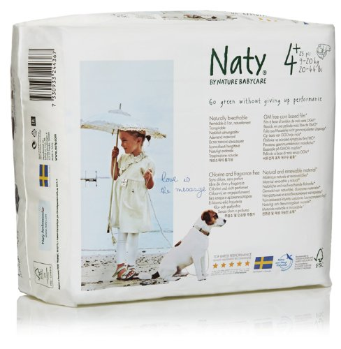Naty by Nature Babycare ECO Nappies - Size 4+, 4 x Packs of 25 (100 Nappies)