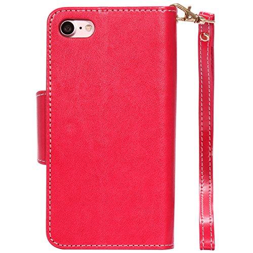 Camiter Conception de loup PU Cuir Coque Case Etui Coque étui de portefeuille protection Coque Case Cas Cuir Pour Apple iPhone 8 + Chiffon de nettoyage gratuit rouge