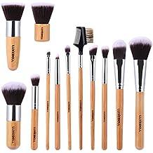 Set de Brochas Luxebell 12pcs Pinceles de Maquillaje Profesional con Mango de Bambú para Corrector Sombra de Ojos Ceja en Polvo (Marrón + Plata)