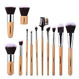 Set de Brochas Luxebell 12pcs Pinceles de Maquillaje Profesional con Mango de Bambú para Corrector Sombra de...