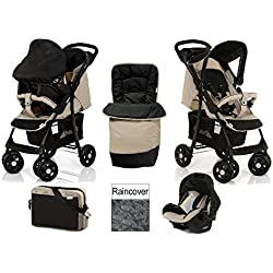 Hauck shopper shop n drive Travel System Carseat Caviar almond black beige+bag+cosytoes+raincover