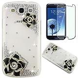Semoss 2 en 1 Set Accessories - Transparent Bling Strass Coque Fleur Etui Housse Cover Rigide pour Samsung Galaxy S3 i9300 i9305 avec Protecteur d'écran